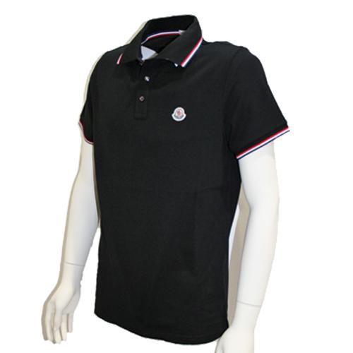 MONCLER モンクレール メンズ ポロシャツ トリコロールライン ブラック