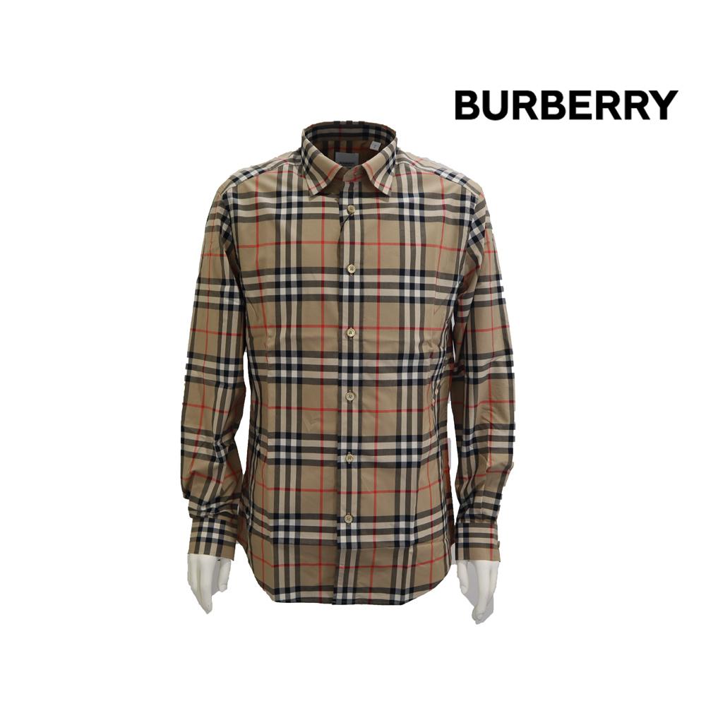 人気のバーバリーチェック 新色 BURBERRY burberry バーバリー メンズ チェック キャメル LONG シャツ メイルオーダー SLEEVE CAXTON SHIRT
