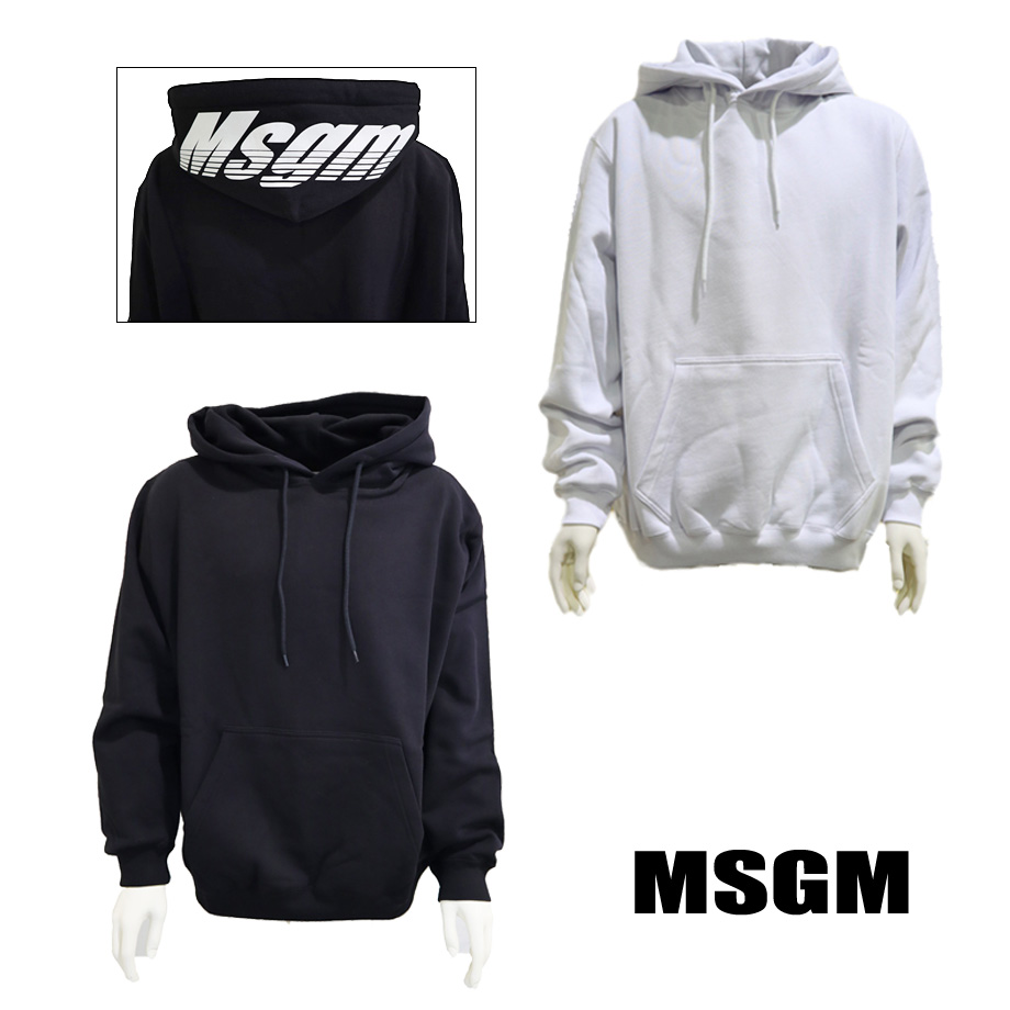 MSGM エムエスジーエム メンズ パーカー スウェット フーディ ブラック ホワイト 2740MM76