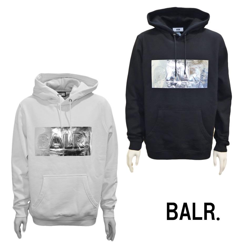 BALR. ボーラー メンズ スウェット パーカー フーディ プルオーバーパーカー ホワイト ブラック B10050 Silver club straight hoodie