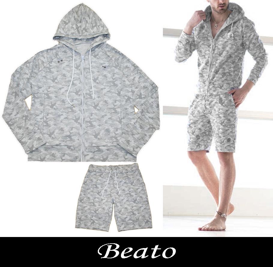 【BEATO】ベアート スウェット上下セットアップ グレーカモフラ柄 灰色カモ