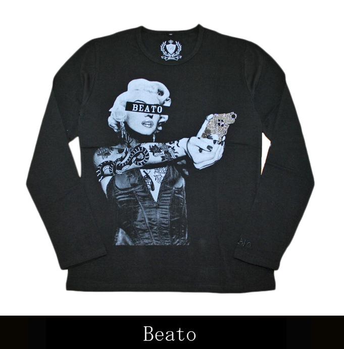 【BEATO】ベアート ロングTシャツ ピストル モノトーンレディ×シルバーピストル 黒 丸首