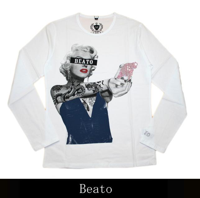 【BEATO】ベアート ロングTシャツ ピストル ブルードレス×ピンクピストル 白 丸首