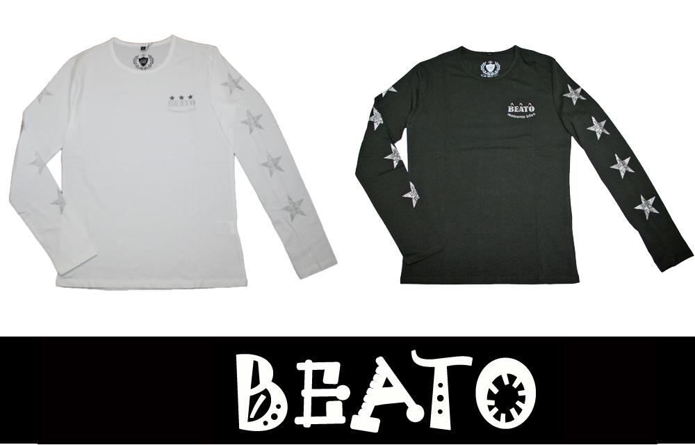 【BEATO】ベアート ロングTシャツ 長袖 アームスター ナンバースカル シルバースター 全2色