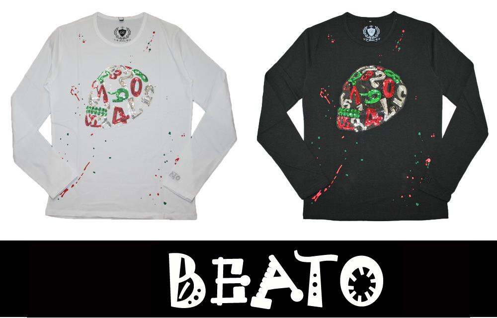 【BEATO】ベアート ロングTシャツ 長袖 サイドフェイス スパンコール スカル イタリアカモフラ柄 全2色