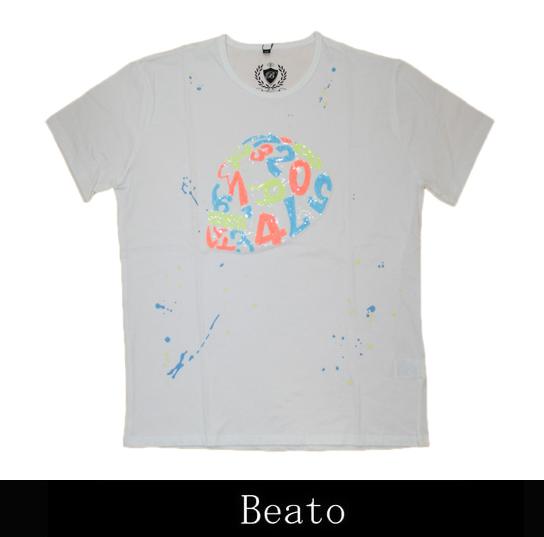 【BEATO】ベアート Tシャツ 半袖 サイドフェイス スパンコール マルチカラー スカル ビタミンカラー 白