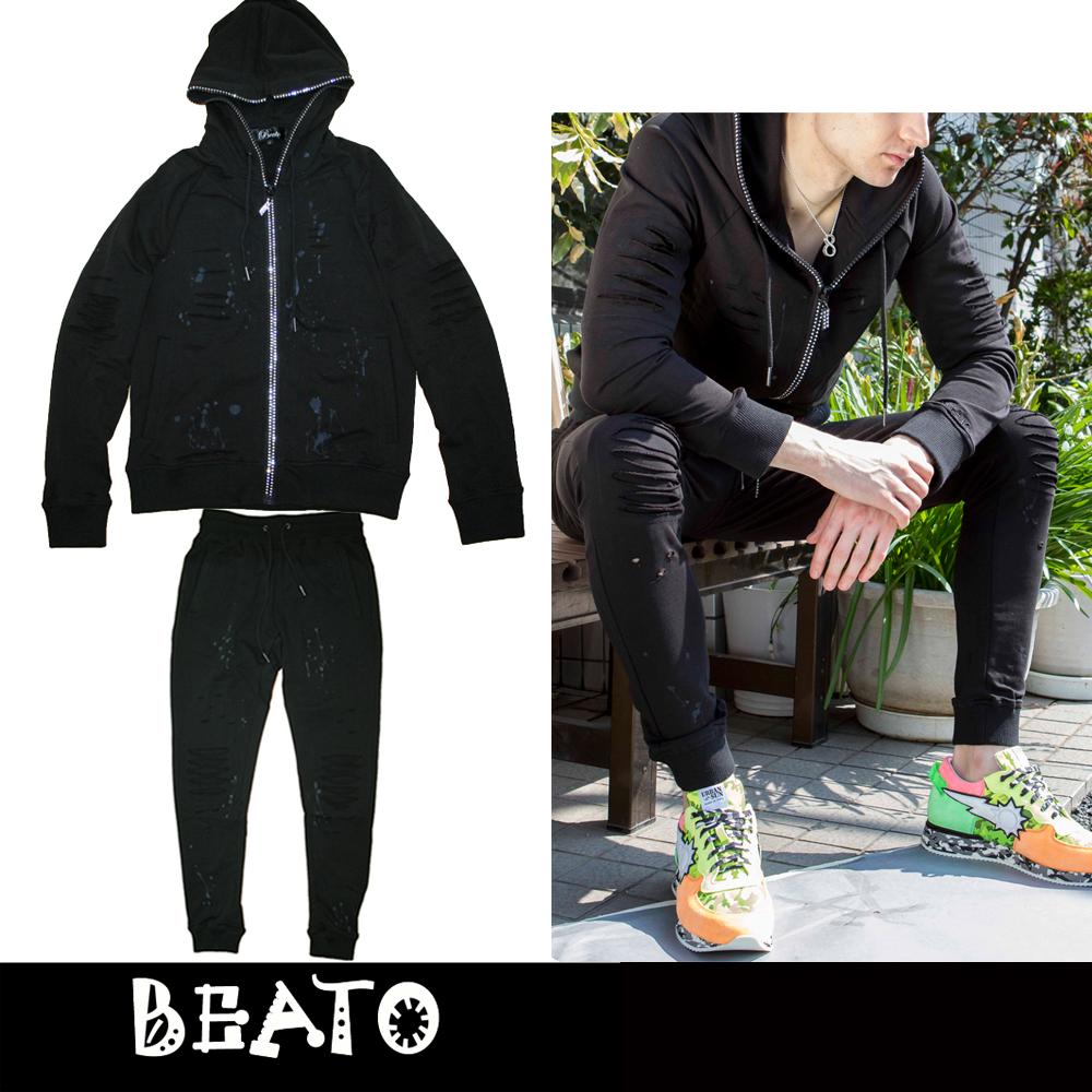 【BEATO】ベアート スウェット上下セットアップ クラッシュ ダメージ加工 ブラック 黒