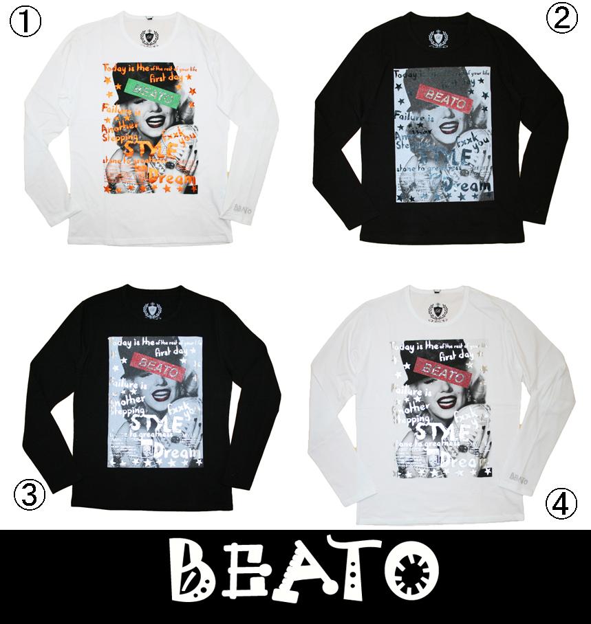 【BEATO】ベアート ロングTシャツ 長袖 グラフィティ スタッズボックスロゴ モンロー 全4色