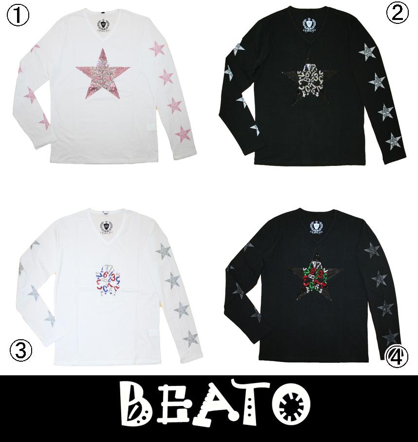 【BEATO】ベアート ロングTシャツ 長袖 スパンコール スタースカル 全4色