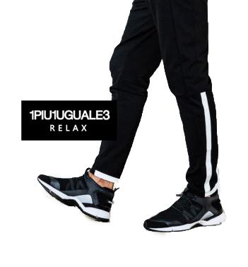 【1PIU1UGUALE3 RELAX】1piu1uguale3 relaxウノピュウノウグァーレトレ ハイテクスニーカー(ブラック)