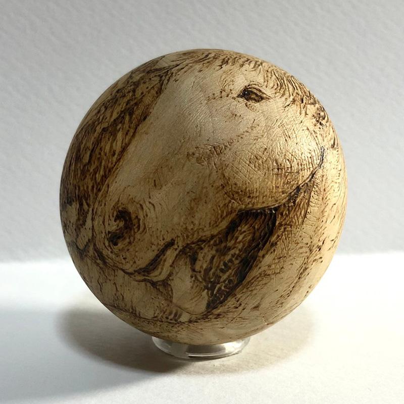 ☆1点限定☆ 馬と平野 アート 上林泰平 ボール 手作り 限定 木製 送料無料 下伊那 作家 画家 アーティスト 立体 造形 馬 ホース 置物 オブジェ インテリア 自然
