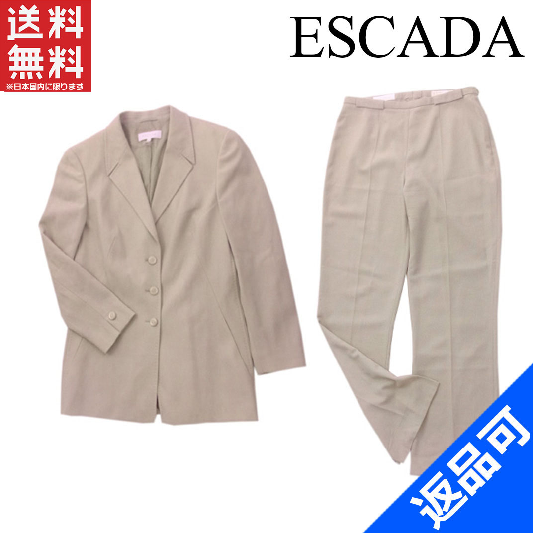 [半額セール]エスカーダ ESCADA スーツ 裾スリット入り テーラージャケット×センタープレスパンツ ロゴボタン 中古 X3801