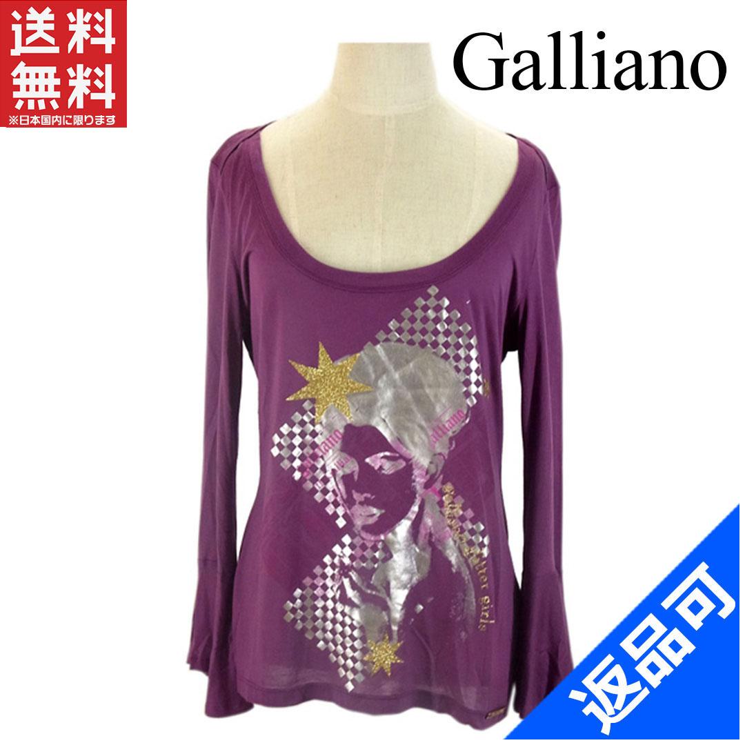 [半額セール]ガリアーノ Galliano カットソー 袖口フレアー ガールモチーフプリント(ラメ入り) ロゴ 新品 X3876