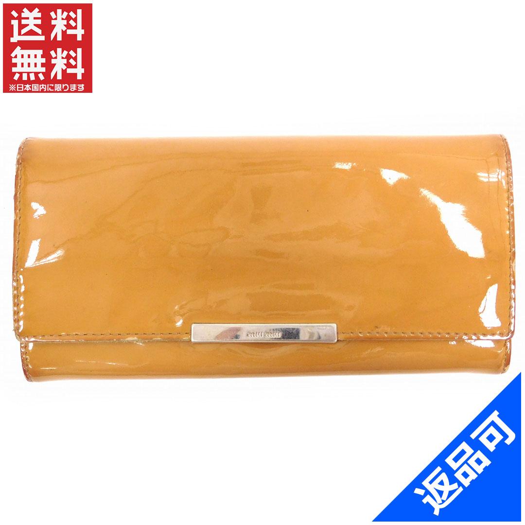 ミュウミュウ 財布 レディース (メンズ可) 長財布 miumiu ロゴ 二つ折り (激安・即納) 【中古】 X4245