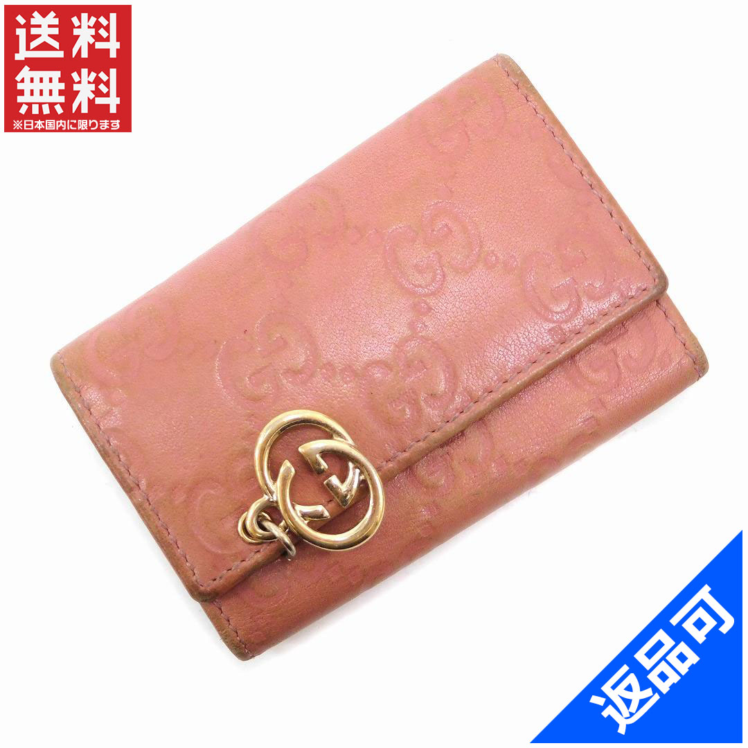 07f8c0c110dc8 (Cheap and quick delivery) (correspondence) Gucci discount   key case   6  key holder   women s   interlocking G charm   guccissima   pink with x Gold  ...