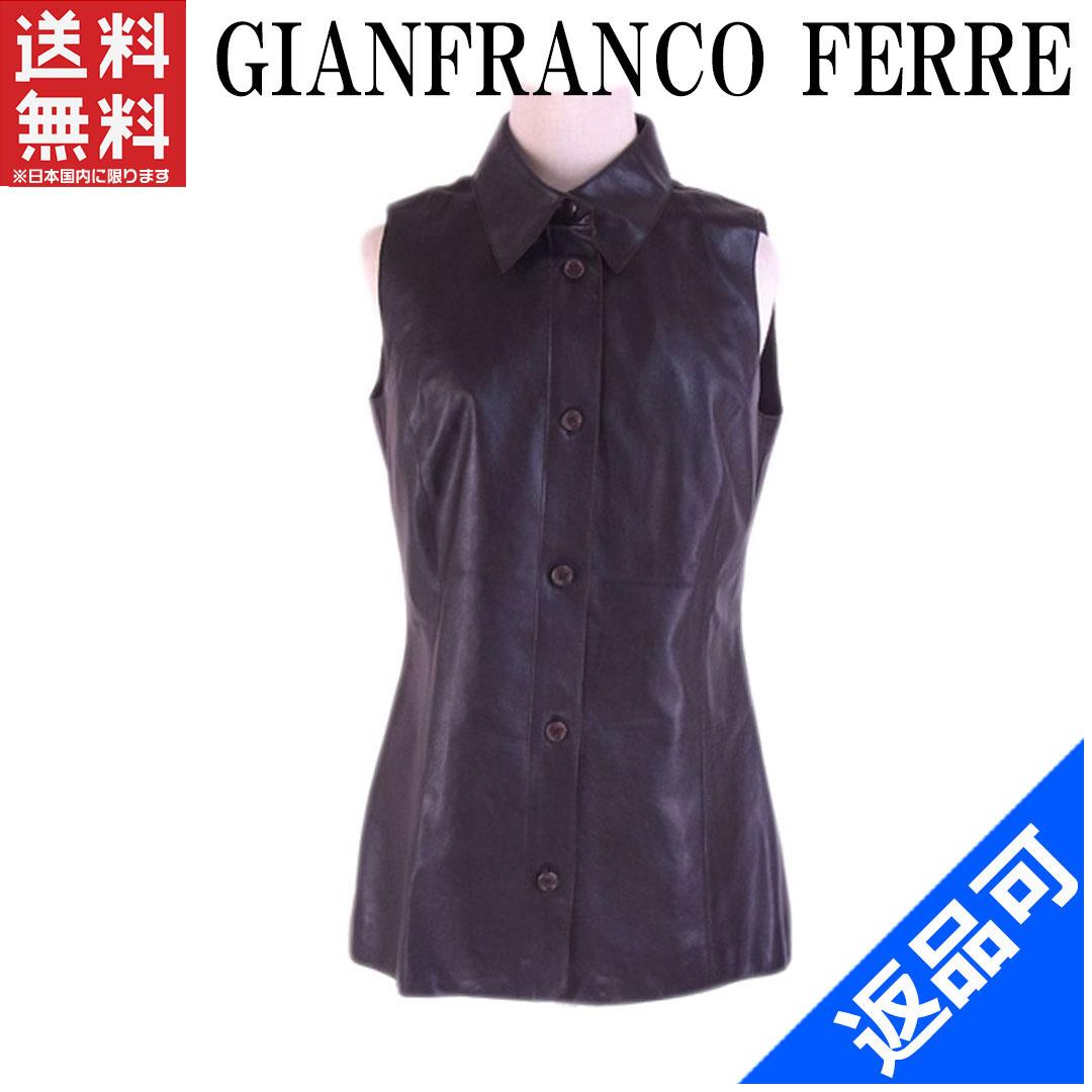[閉店セール]ジャンフランコフェレ GIANFRANCO FERRE ベスト ロゴボタンサイズ44 衿付き レザー 中古 X5167