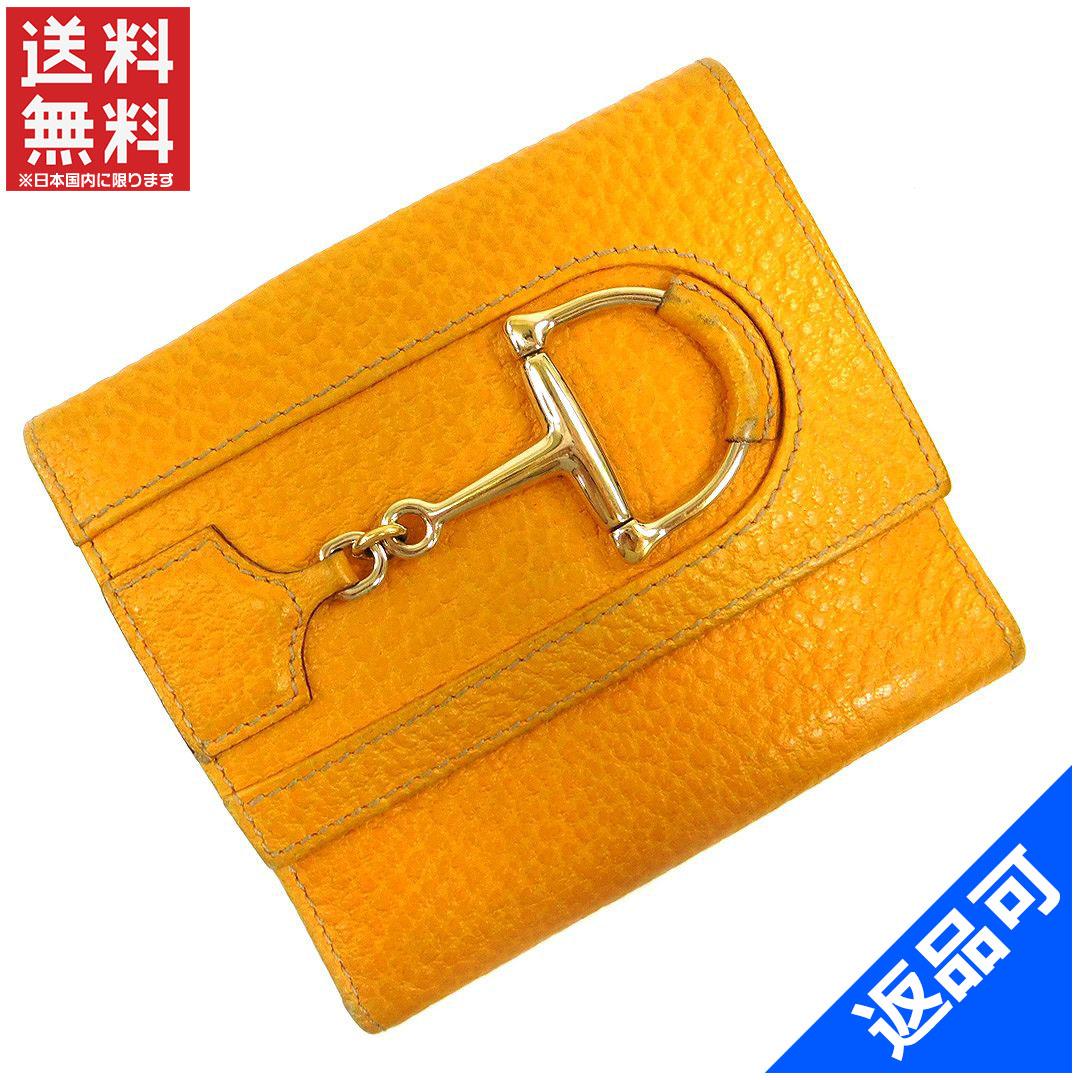 グッチ 財布 レディース (メンズ可) 二つ折り財布 GUCCI ハスラービット付き Wホック財布 (人気・激安) 【中古】 X5667