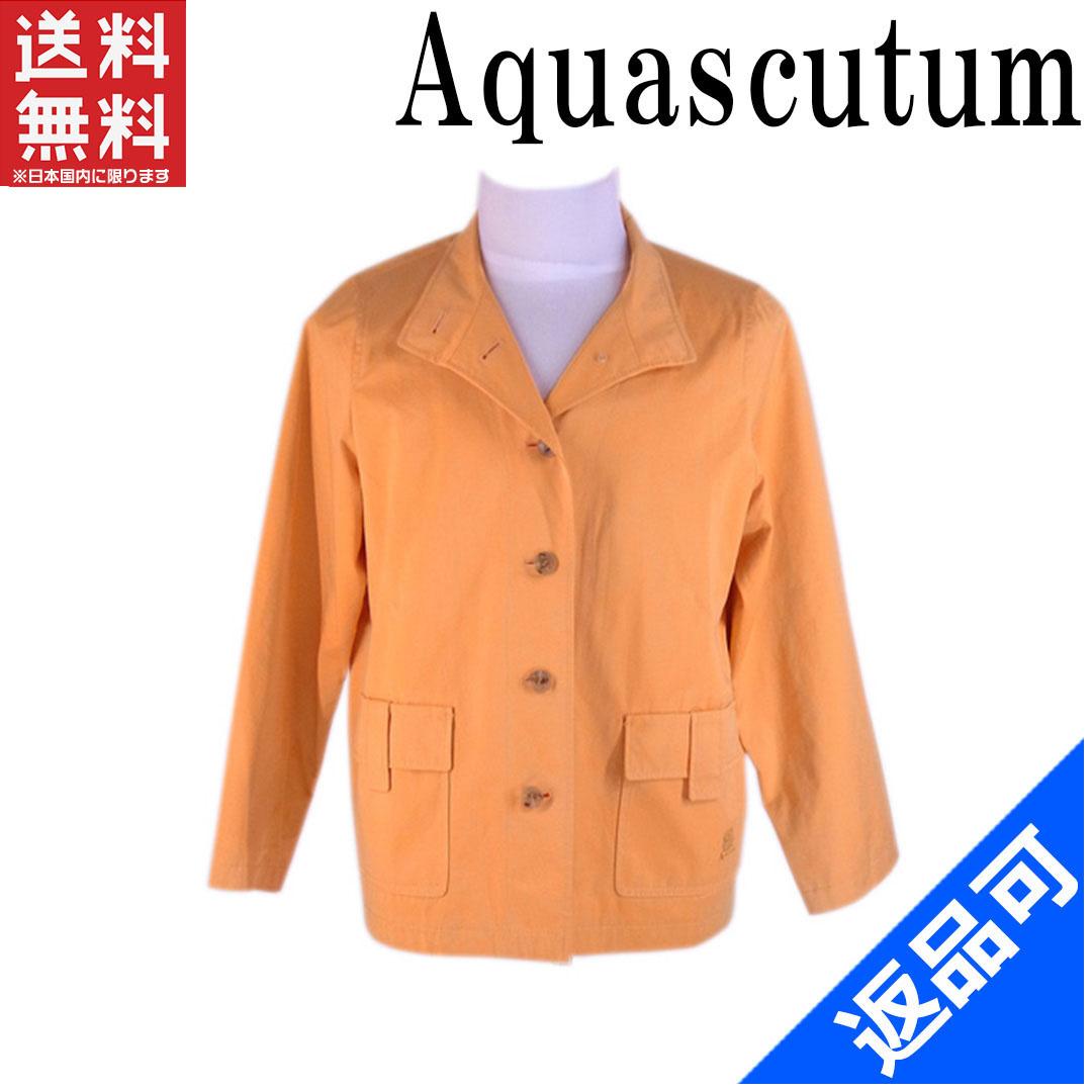 [半額セール]アクアスキュータム Aquascutum ジャケット ポケット付き サイズ6S シングル ロゴ 中古 X5882