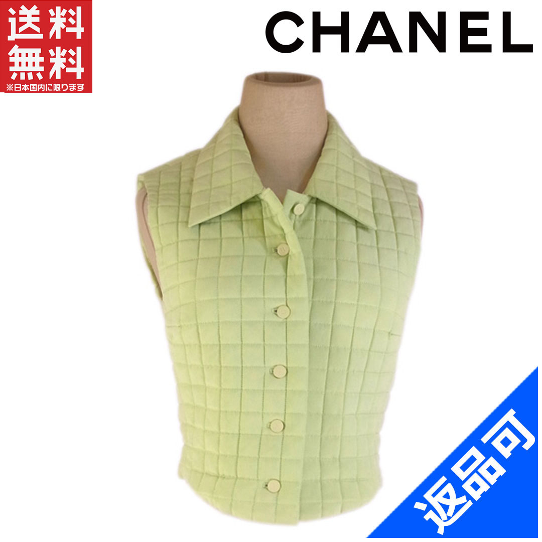 8b30c761fa8f5 Popular low-price with Chanel  CHANEL   tops best ladies size 36 quilting    cocobotan   green  Silk 100% X5891