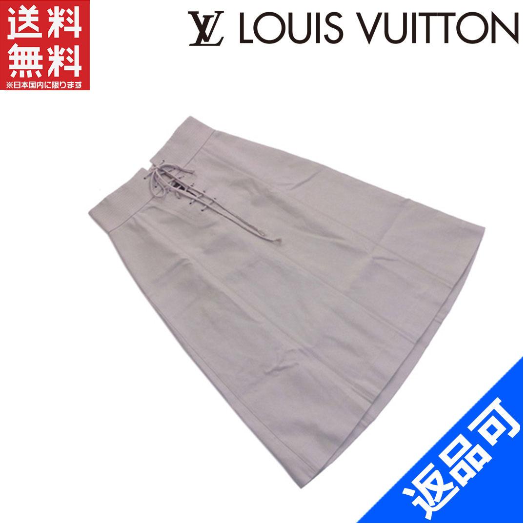 [半額セール]ルイヴィトン LOUIS VUITTON スカート フレアー ヒザ丈 38サイズ レースアップ ステッチ 中古 X6063