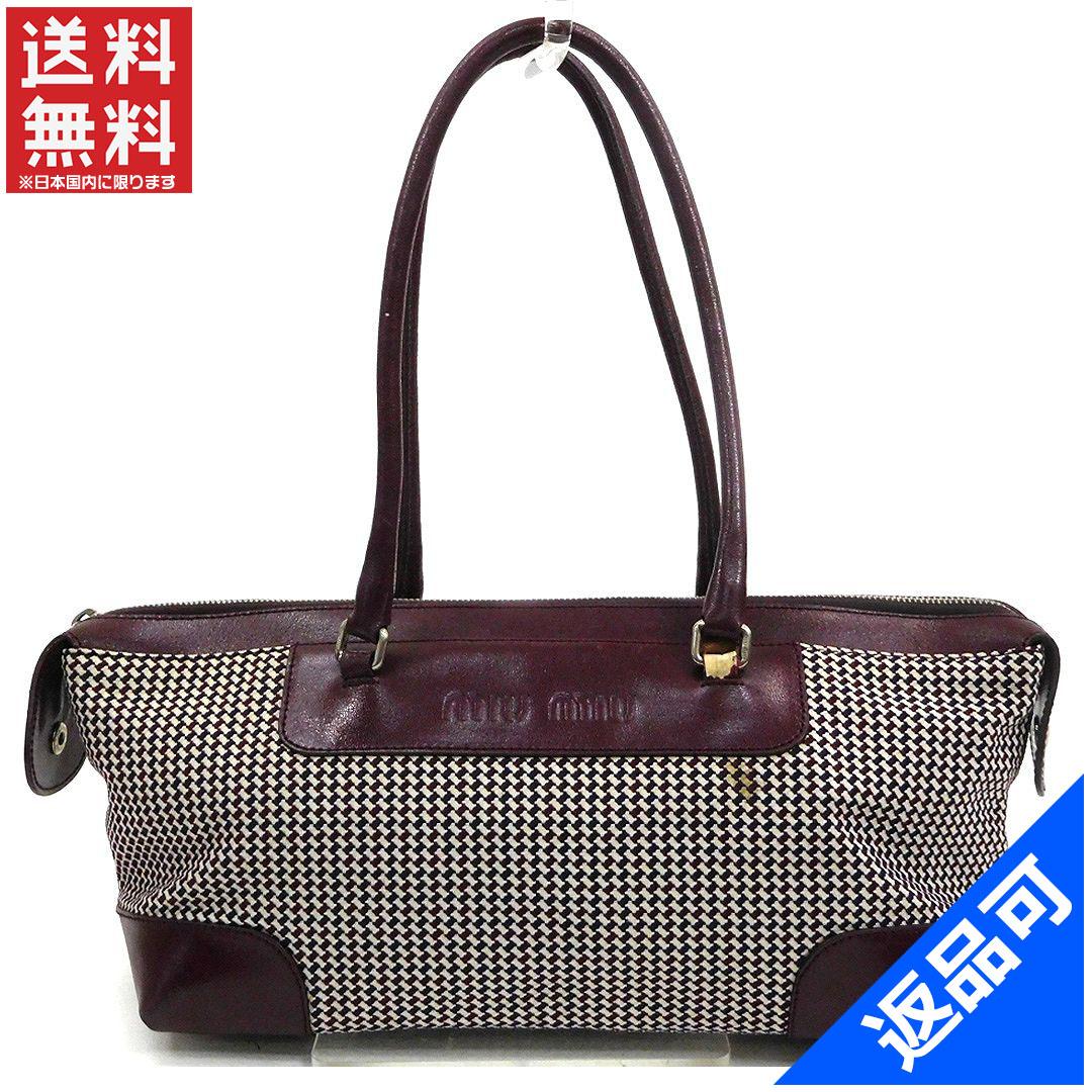 3a3a561dca4 Designer Goods BRANDS  Miu Miu miumiu bag Bordeaux   white canvas   leather  with popular non-defective X6065   Rakuten Global Market
