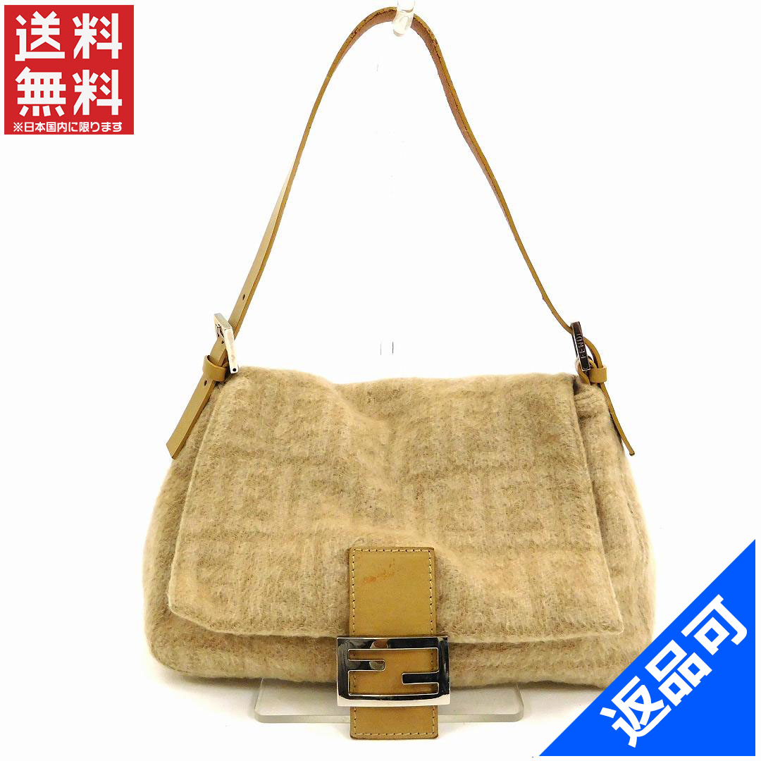 52d42adceb1c Fendi by FENDI shoulder bag handbag ladies man MAB get caked beige × silver  wool canvas   leather with popular low-price X6269