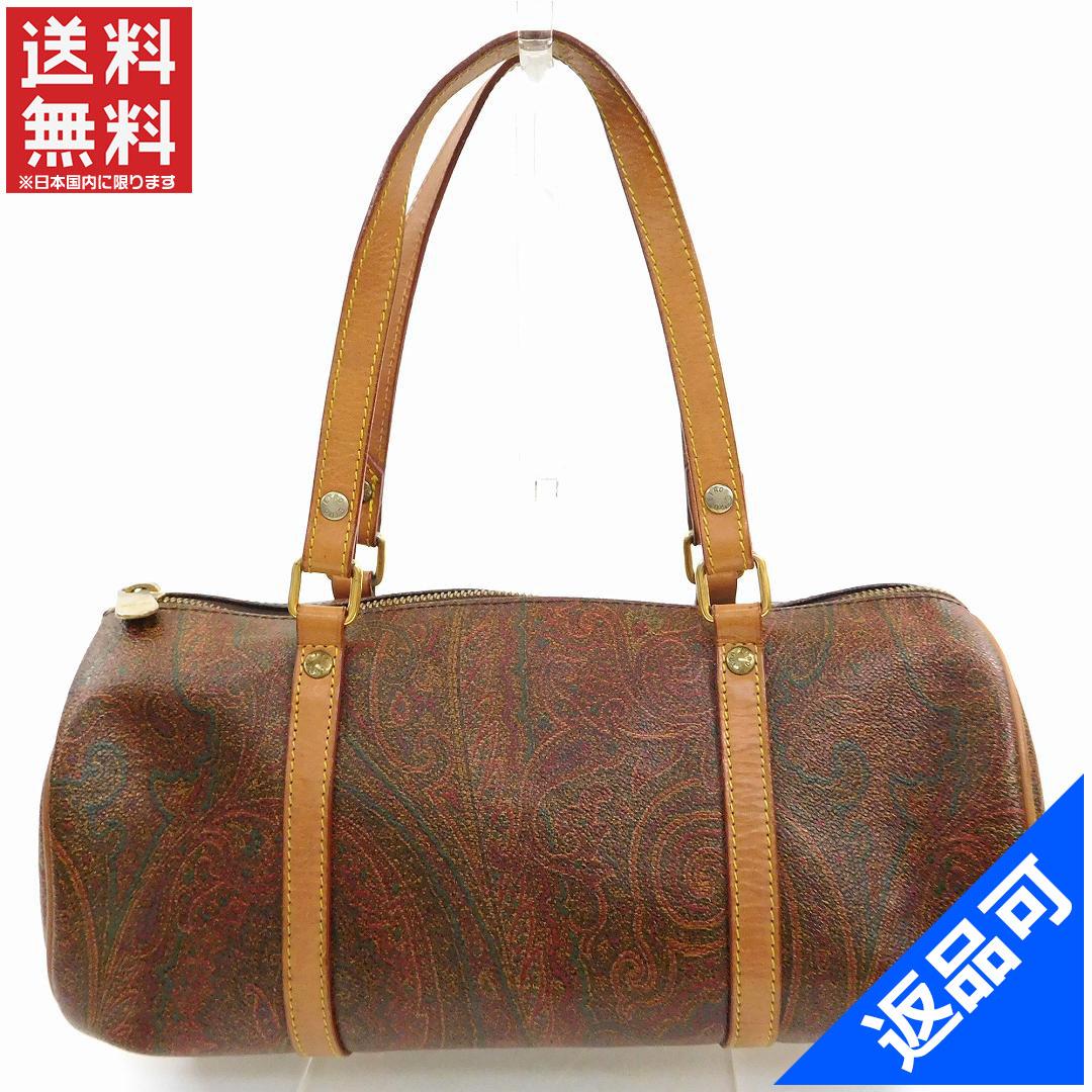 8acb0b2cb74cf Designer Goods BRANDS  ETRO ETRO handbags cylindrical bag mens allowed  Paisley Brown x light brown PVC x leather (for) good popular X6344