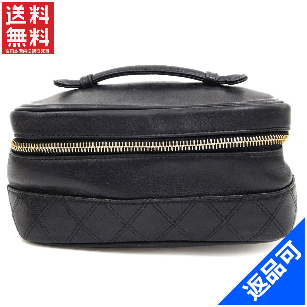 7e16db704841 Chanel CHANEL vanity makeup pouch pouch bag men-friendly double-stitched  Coco make black ...