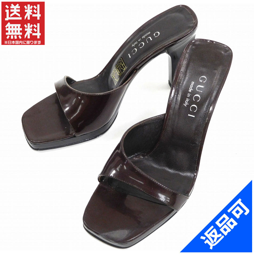 c3889e0e0f7 Gucci by GUCCI Sandals mules shoes shoes Womens   34 half-C 3 chunky heel  brown leather with popular non-defective X6736