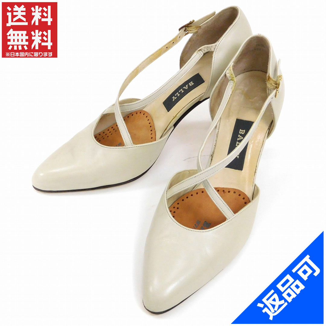 cb2f3dfaed6e Bally BALLY pumps shoes shoes Womens   5 E pointy toe cross design light  beige x Gold leather (correspondence) popular low-price X6786