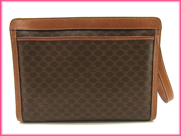 Celine CELINE bag clutch bag men-friendly straps with macadam Brown x light brown  PVC x leather (correspondence) popular low-price X6920 561e57e6a0d7f