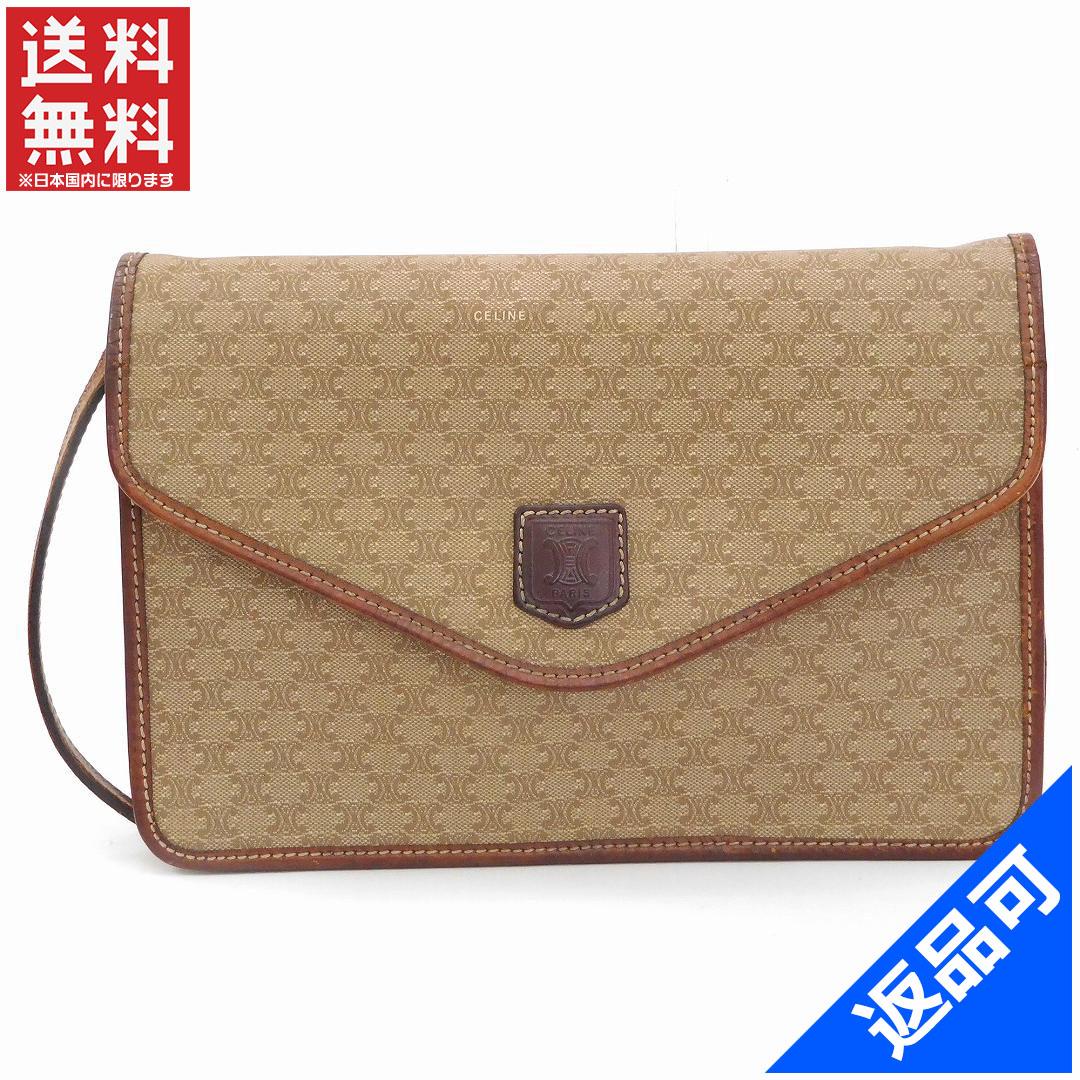 Designer Goods BRANDS  Celine CELINE 2WAY shoulder bag clutch bag men-friendly  macadam beige x Brown PVC   leather with popular low-price x6564  6ef6b1b186ca8