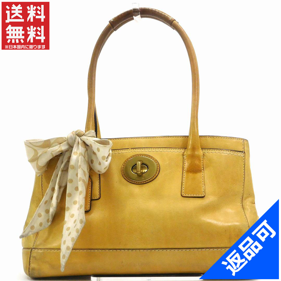 6bca90be9107 Designer Goods BRANDS  Coach COACH tote bag shoulder bag ladies with Ribbon  beige x Gold leather (correspondence) popular low-price X7090