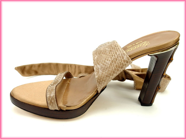 4160f830c ... Gucci by GUCCI Sandals #341/2 women's Python beige x Brown of satin ...