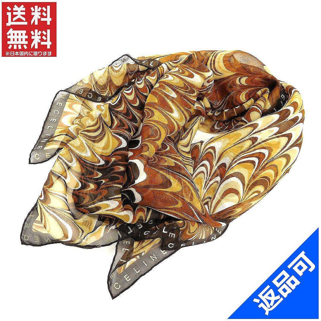 [閉店セール]セリーヌ CELINE スカーフ 大判サイズ ロゴ柄 中古 X7309