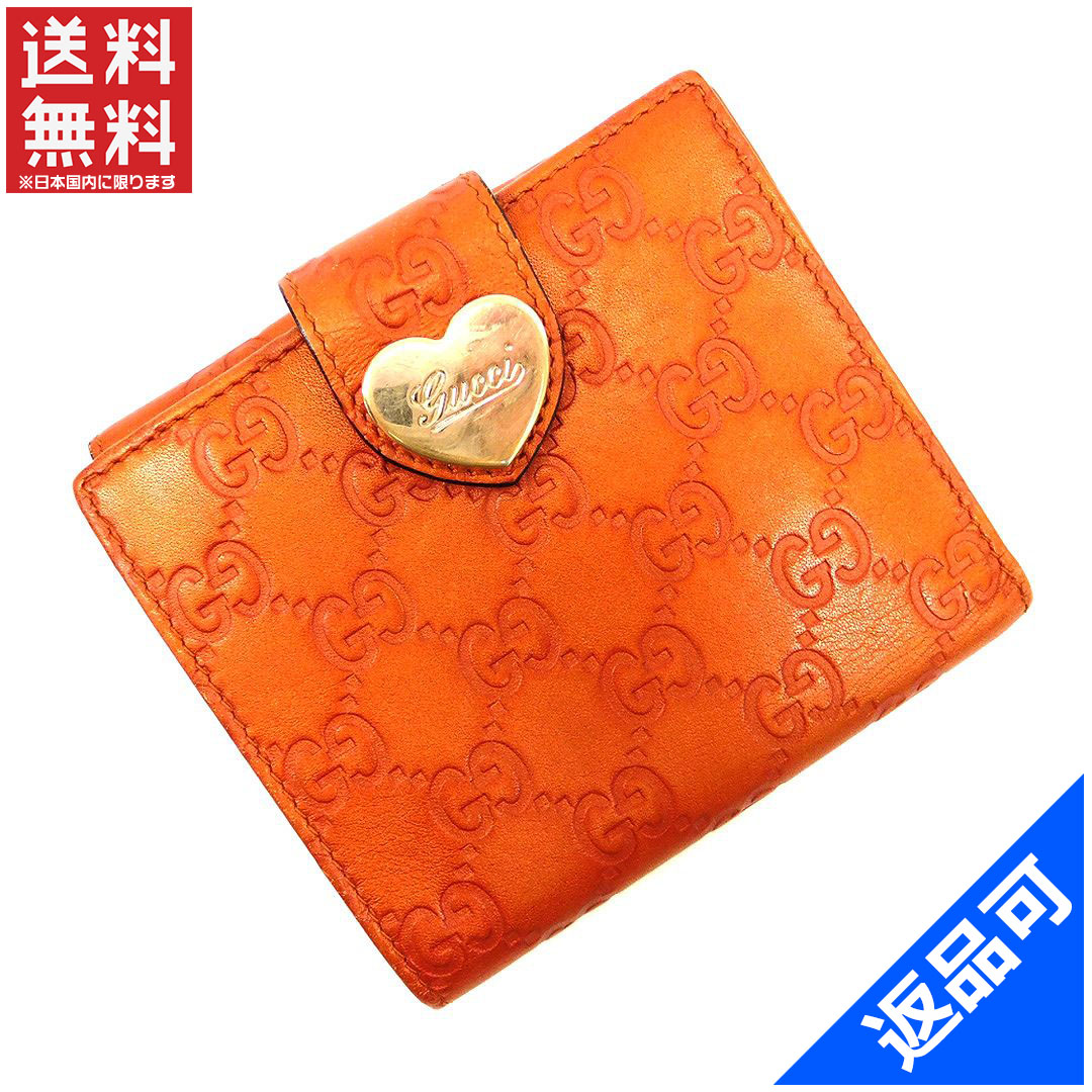 6495a9012c58 Gucci by GUCCI purse two fold ladies with heart plate guccissima metallic  Orange x popular cheap X7319 gold leather (correspondence)
