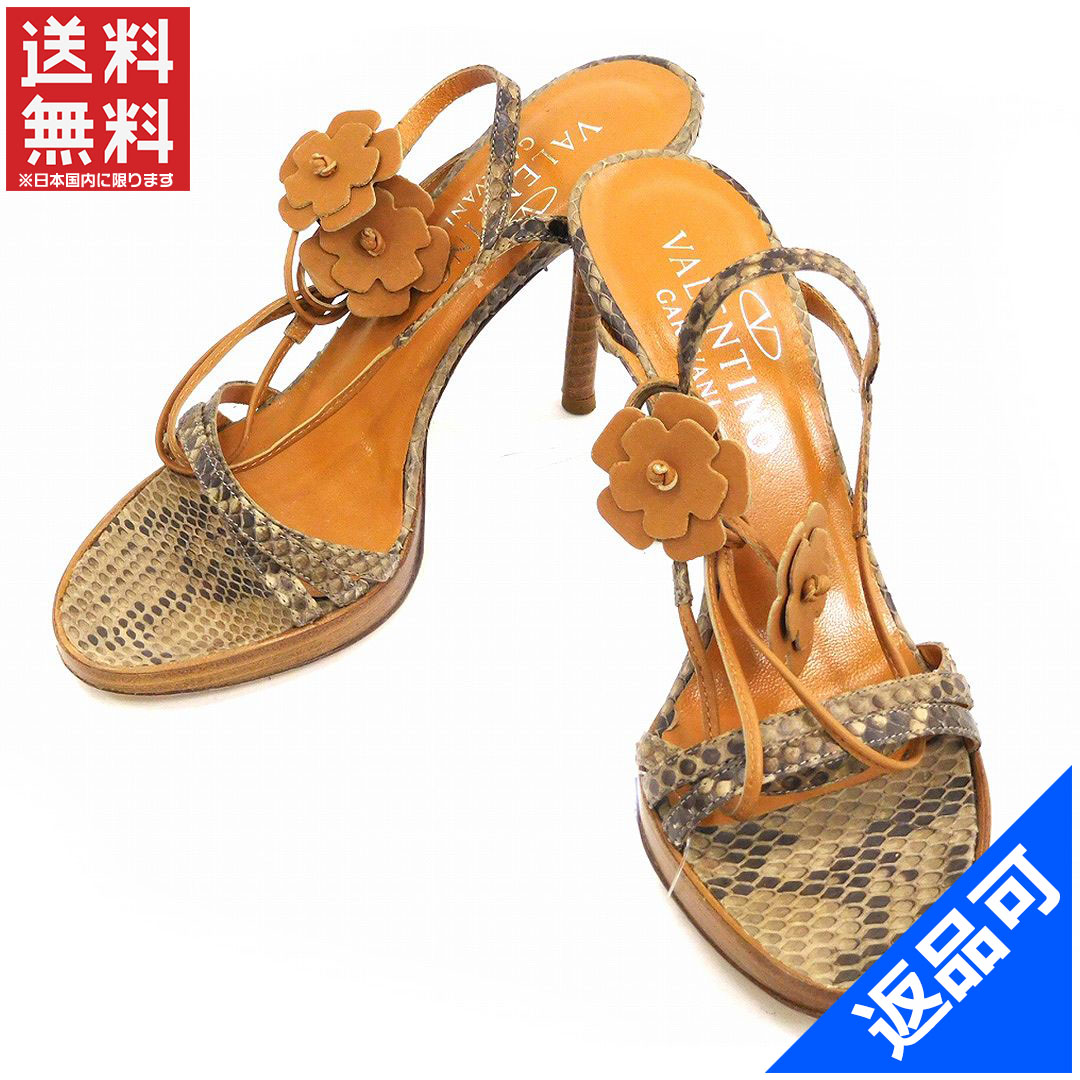 0fd6c9eacb9d Valentino garavani VALENTINO GARAVANI Sandals shoes shoes Womens   35  stiletto Python x flower beige x Brown Python x leather with popular  low-price X7385