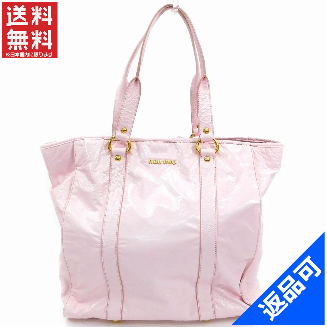 48908aaf63b1 Miu Miu miumiu Tote shoulder bag women s logo light pink   gold patent  leather with Mint popular X7607