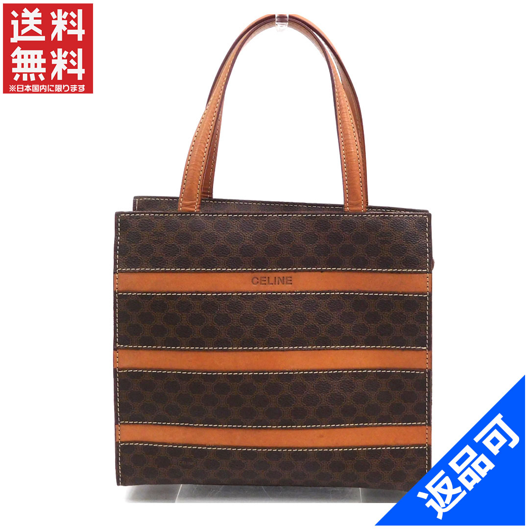 77035682c1dc Designer Goods BRANDS  Celine CELINE handbag tote bag men-friendly macadam  x borderline Brown x Brown PVC   leather with popular low-price X7654