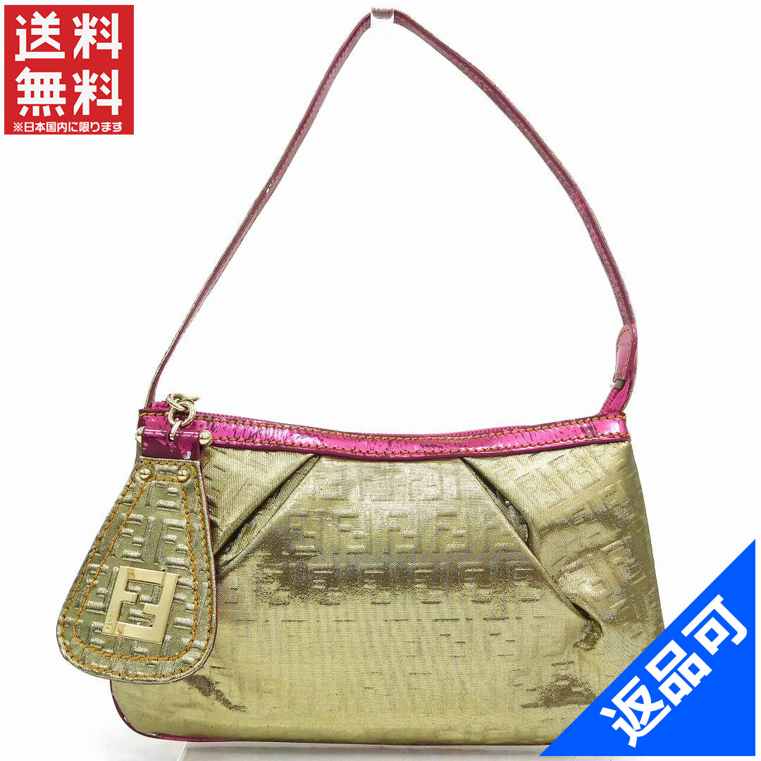 cfaca27516 Designer Goods BRANDS  Fendi by FENDI purse pouch bag ladies zucchino gold    metallic pink laminate processing style leather with popular low-price  X7688 ...