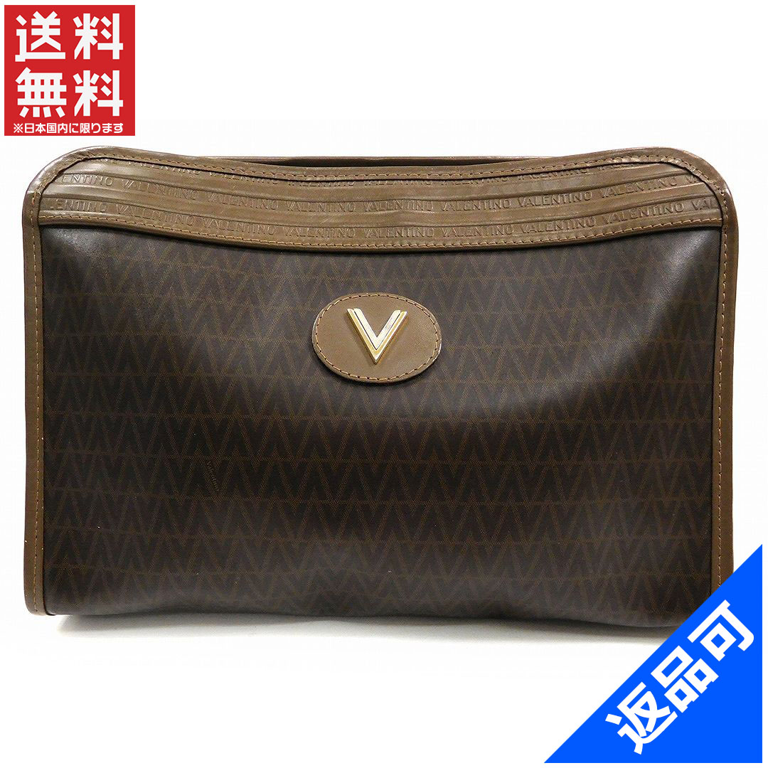 Designer Goods BRANDS  Valentino VALENTINO clutch bag men-friendly V  pattern Brown x Gold   Silver PVC x leather with popular low-price X7695  2159dd7263a3d
