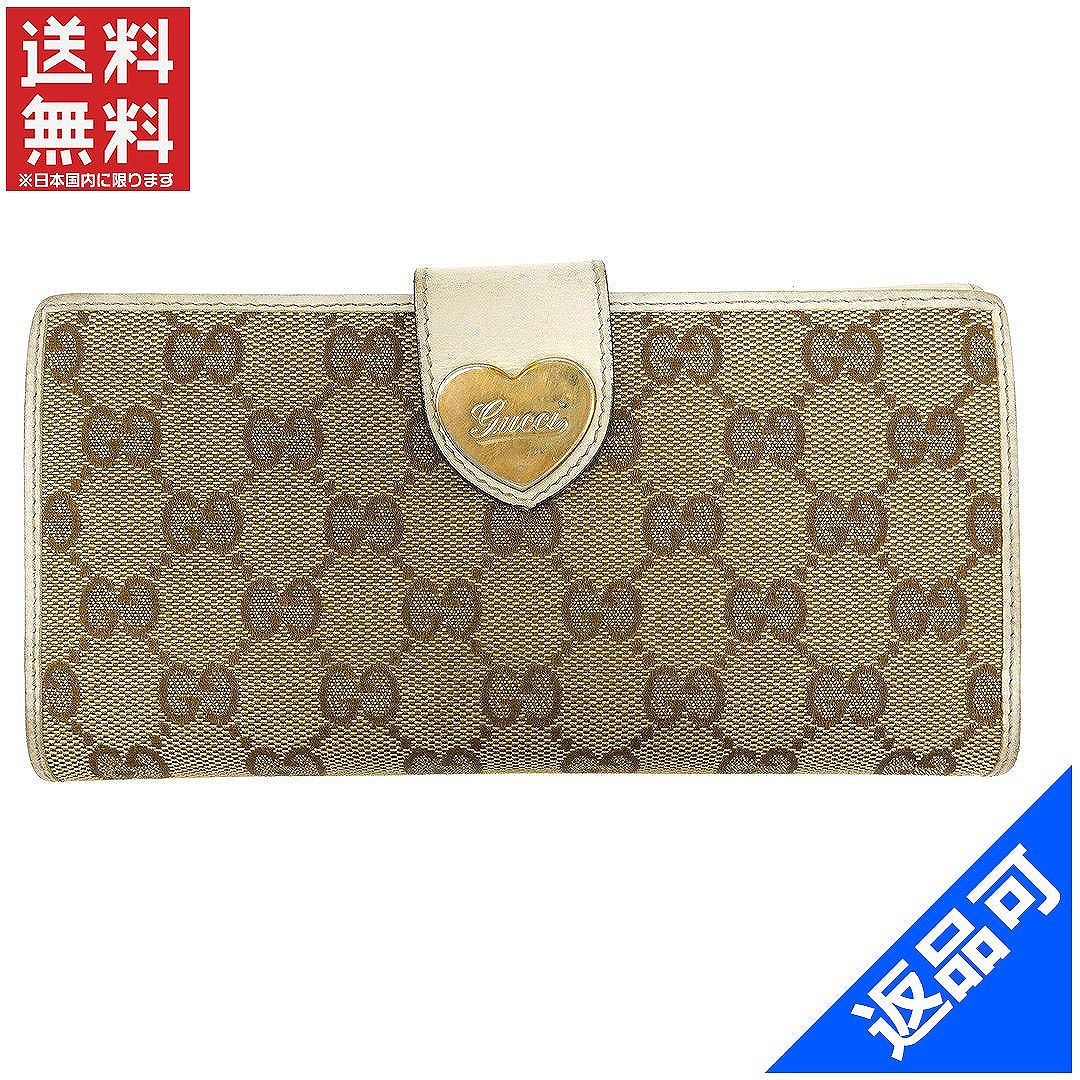 e705b771c7e Gucci by GUCCI long wallet W hook two fold ladies with heart plate GG  canvas beige × white × gold canvas x leather with popular low-price X7726