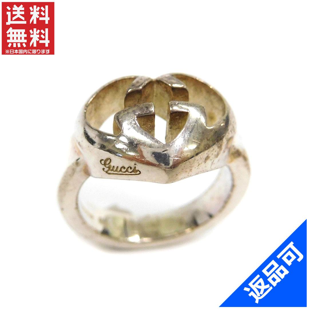 [半額セール]グッチ GUCCI 指輪 リング アクセサリー ♯7.5~8号 ダブルGハート 中古 X7757