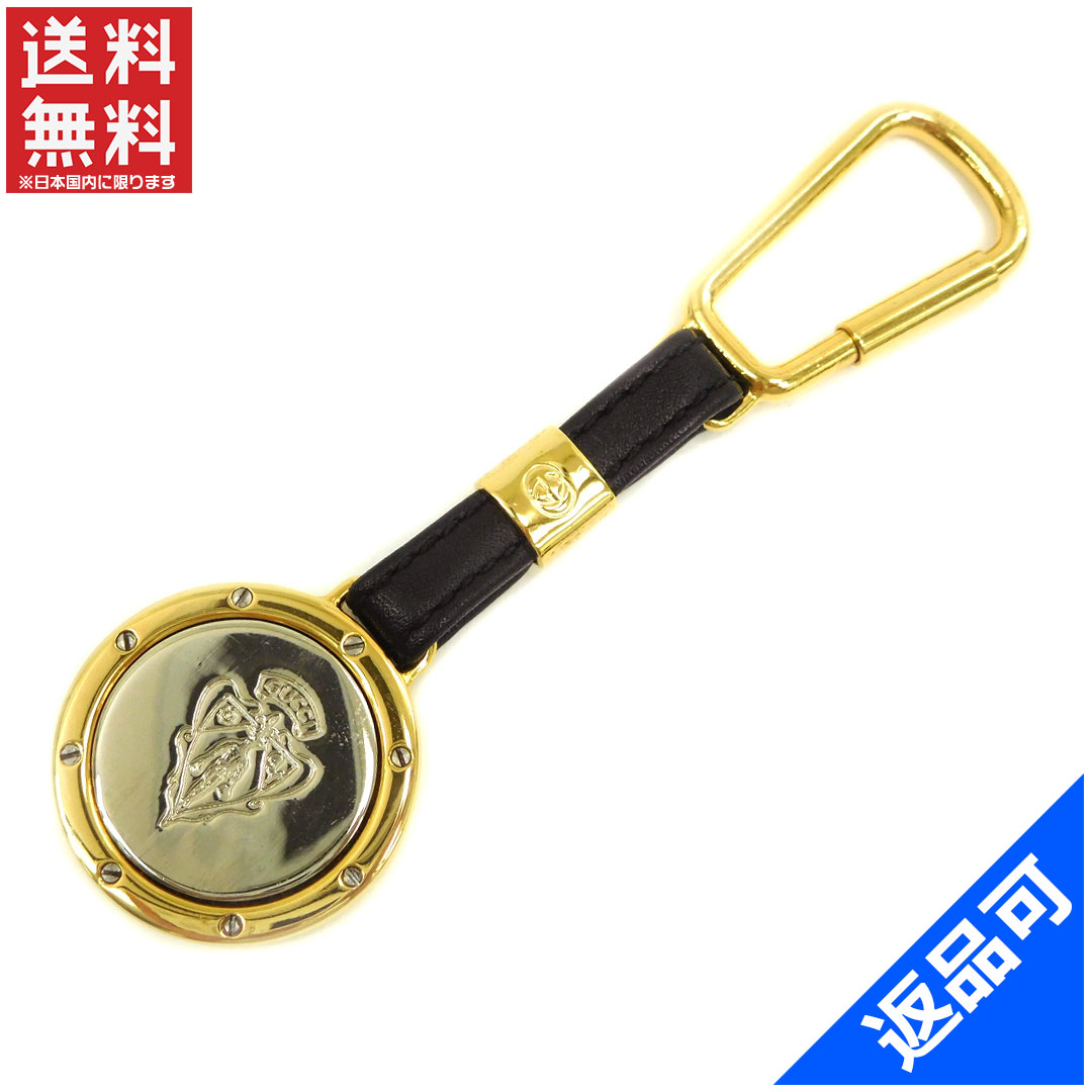 1e0c87e6f1aea Gucci by GUCCI Keyring key ring mens-friendly old Gucci crestoditeel black  x silver x Gold Leather x Silver   Gold metal with popular beauty products  X7828