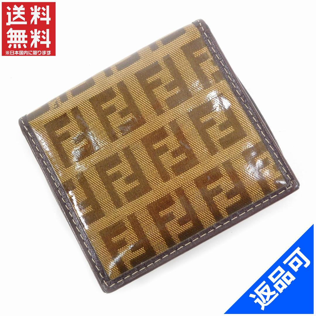 フェンディ 財布 レディース (メンズ可) コインケース FENDI ズッキーノ 激安 即納 【中古】 X9089