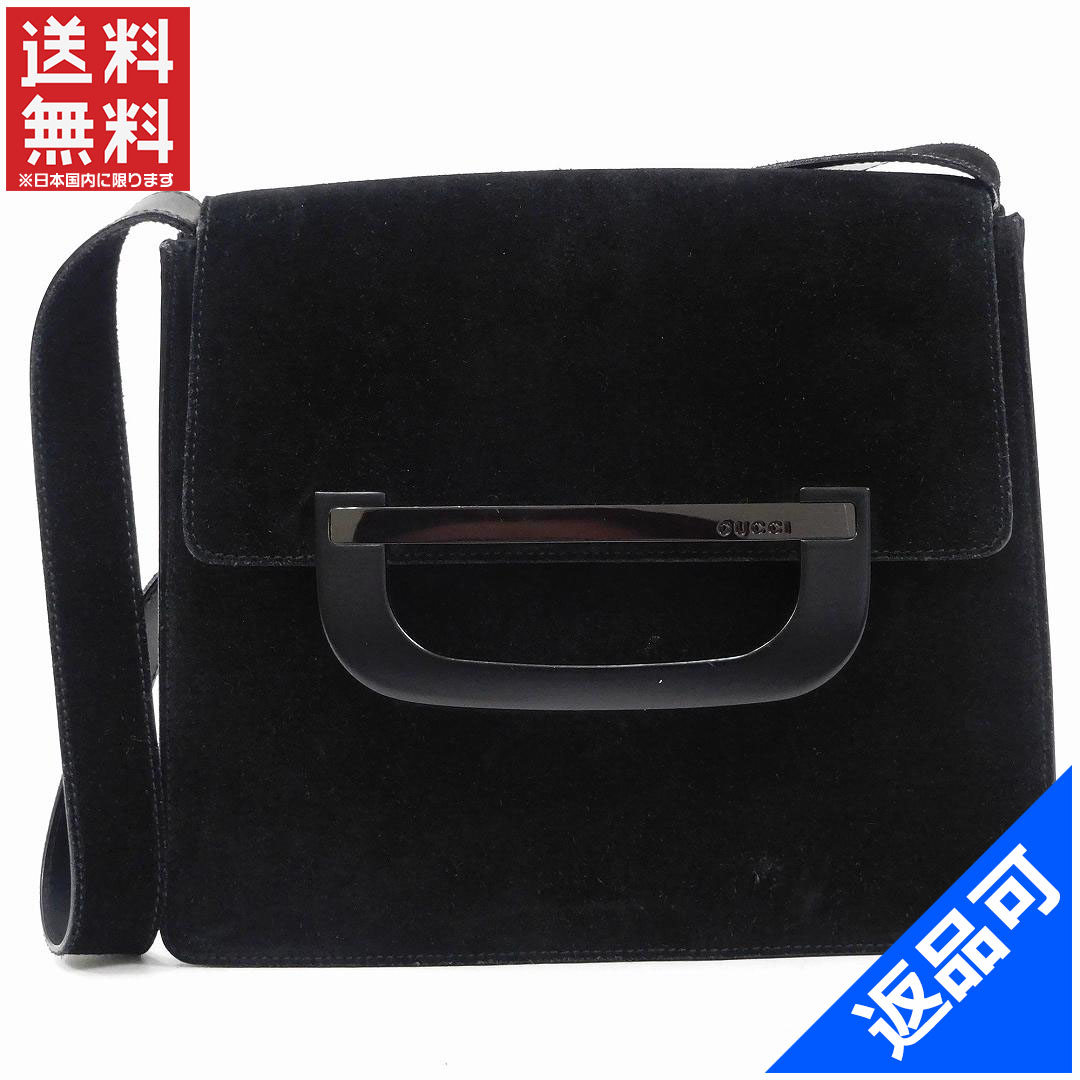 Gucci by GUCCI shoulder bag men-friendly suede Black Suede   leather with  non-defective delivery X9383 255b5b3d81317