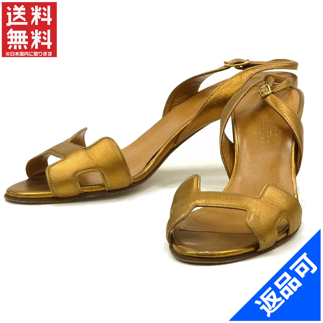 8e6ec40a6f52 Designer Goods BRANDS  Hermes HERMES Sandals shoes shoes Womens gold leather  with popular instant X9456