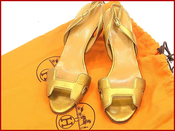 689a17ddeb78 Hermes HERMES Sandals shoes shoes Womens gold leather with popular instant  X9456
