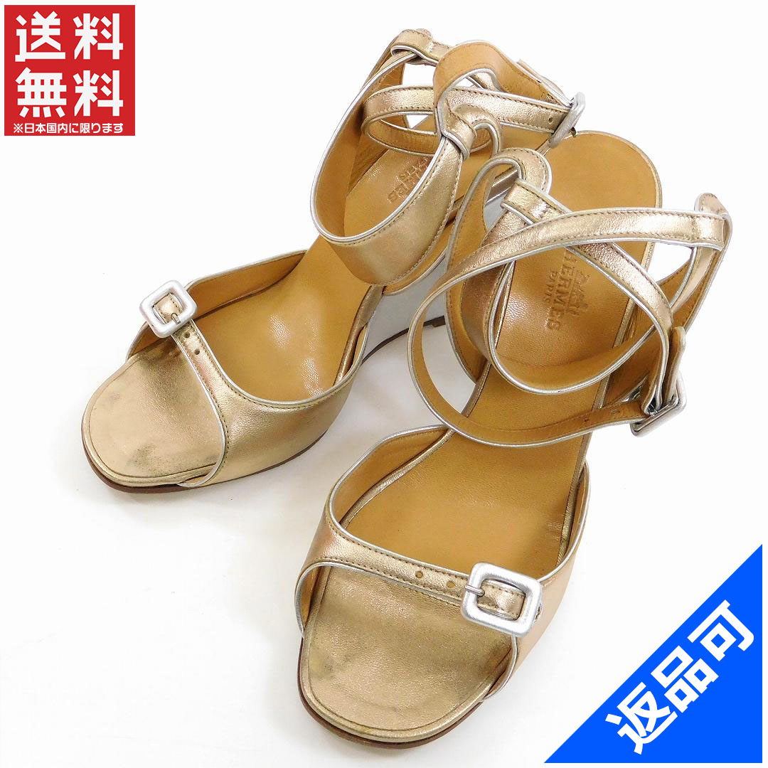 5d13a2998dbd Designer Goods BRANDS  Hermes HERMES Sandals shoes shoes Womens gold    silver leather with popular instant X9644