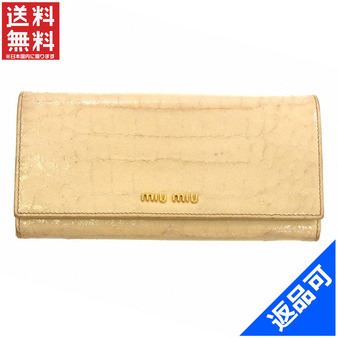 quality design 41e0a a498f X10381 【中古】 即納 激安 クロコ調 miumiu 長財布 (メンズ可 ...